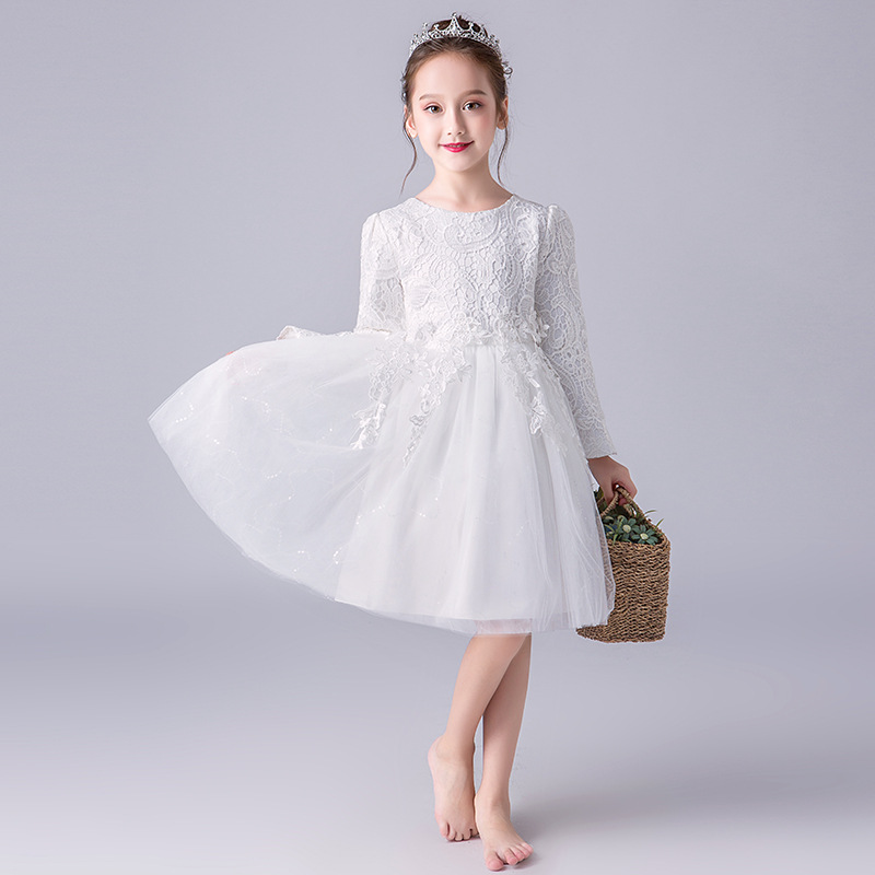 Autumn And Winter CHILDREN'S Dress Long Sleeve Girls Princess Skirt Puffy Yarn Children Marriage Formal Dress White Host Costume