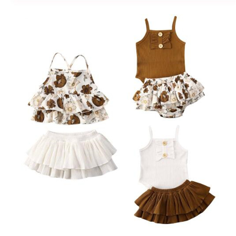 0-24M Infant Baby Girl Clothes Sets Sleeveless Sling Tops Romper+Floral Print Tutu Skirt Outfit Sunsuit Baby Girls Summer Sets