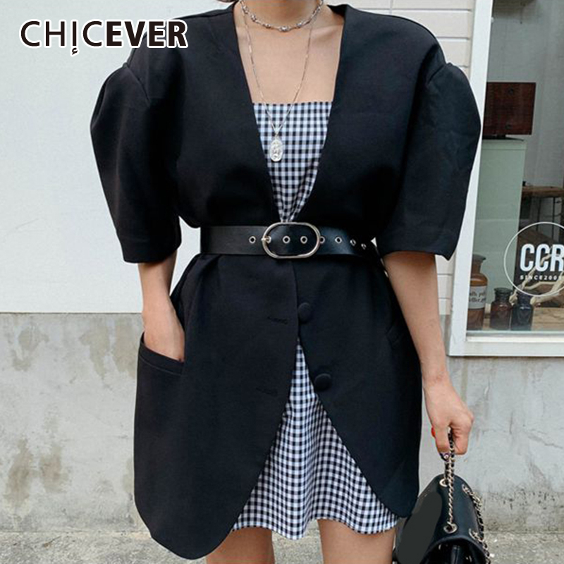 CHICEVER Vintage Blazer Coat Female V Neck Half Puff Sleeve Loose With Sashes Thin Blazers Clothes For Women Fashion New Summer