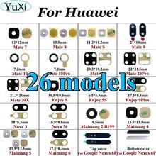 Yuxi traseira voltar lente da câmera de vidro substituição para huawei companheiro 10 20 pro 7 8 s 20x desfrutar 5 5S 9plus nova 3 3i