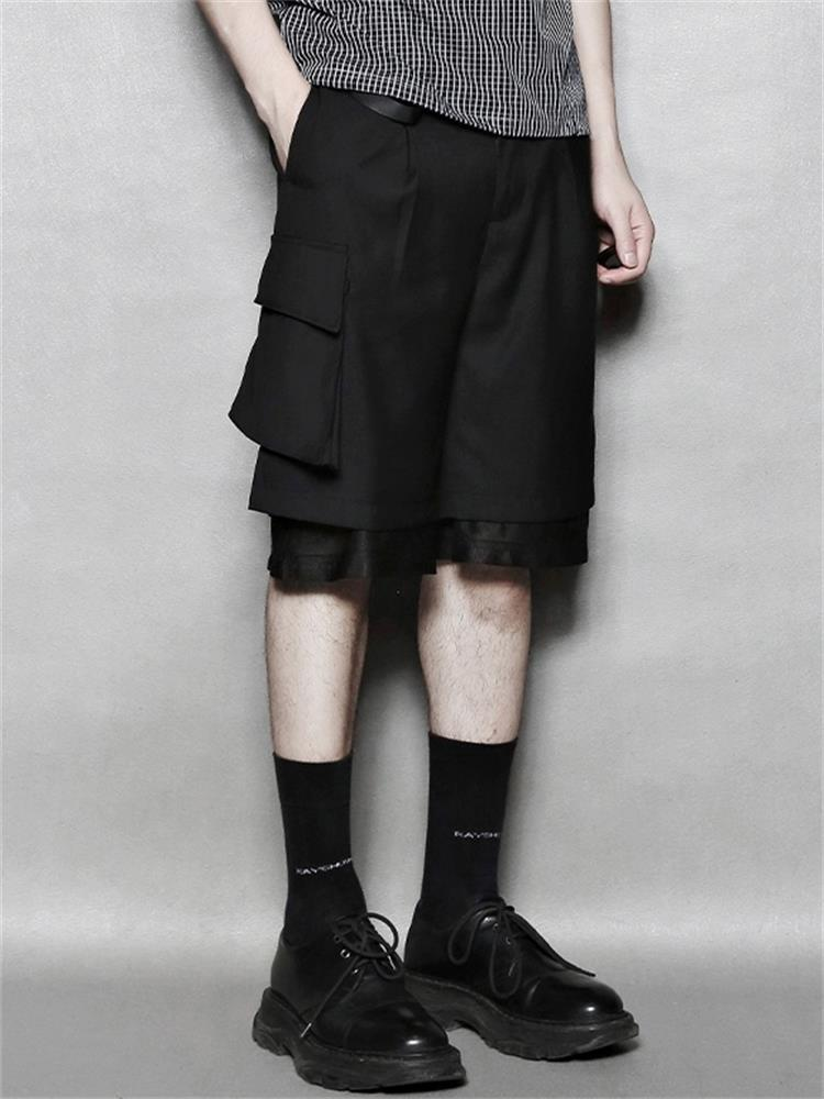 Original design asymmetric patch pocket double-layer tooling five-point pants All-match casual loose shorts