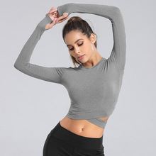 Yoga Tops Women Fitness Shirts Long Sleeve Breathable Yoga Shirts Running Jogging Crop Tops Women Sportswear Workout Top Shirts cheap Luckinvoker Polyester Full Quick Dry Fits true to size take your normal size Broadcloth WA57