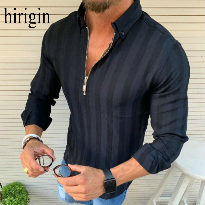 Men Shirt 2020 Male High Quality Long Sleeve Shirts Casual Solid Slim Fit Black Man Dress Shirts Causal Shirt Zip Fashion Design