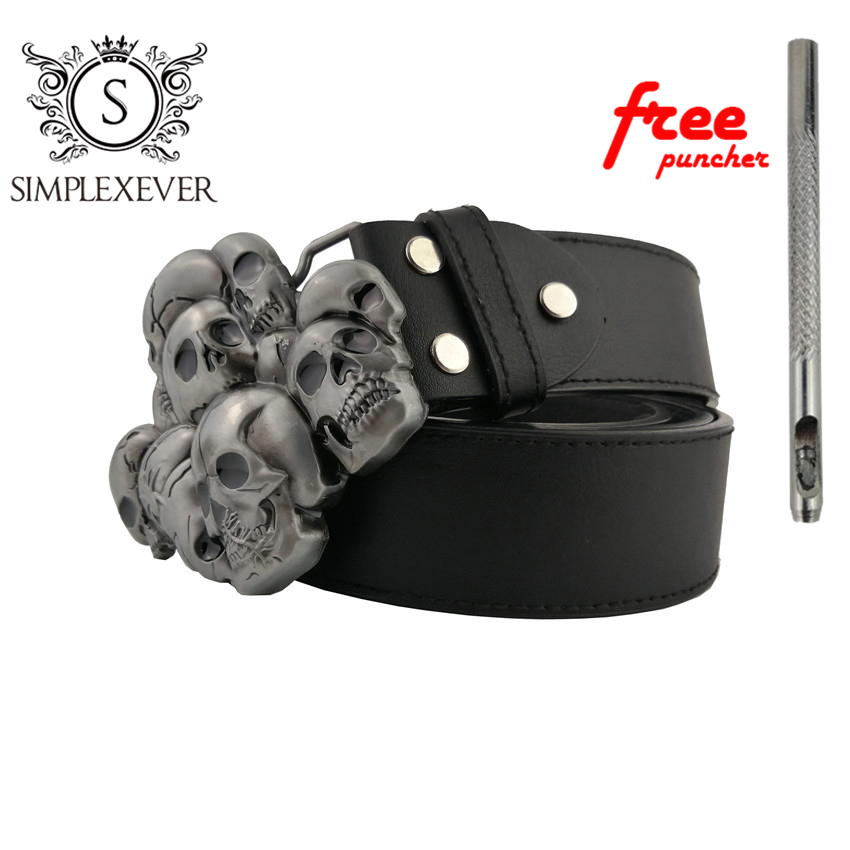 Punk Rock Metal Skull Belt Buckle For Men Belts Silver Belt Buckle As New Year Gifts With Belt And Free Puncher