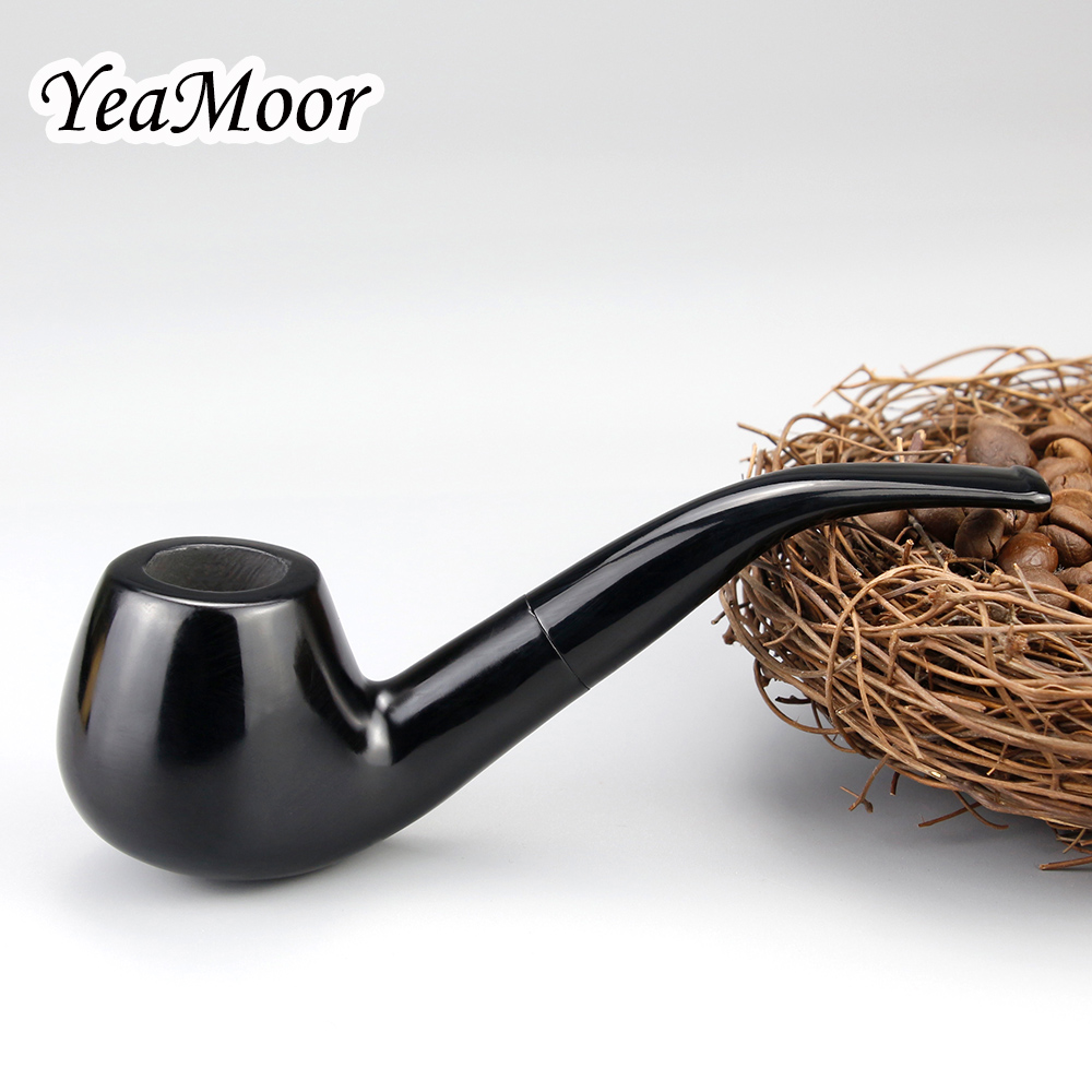 Creative Smoking Pipe 9mm Filter Ebony Wood Pipe 10 Tools Free Black Wooden Pipe Tobacco Pipe Top Grade Smoking Accessory