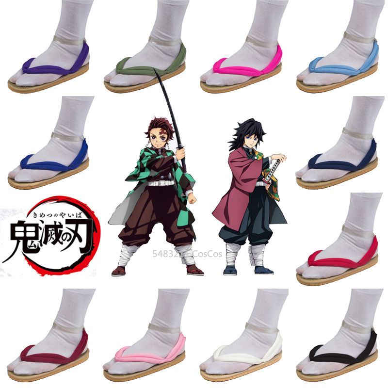 Demon Slayer Kimetsu No Yaiba Anime Cosplay Shoes Kamado Tanjirou Nezuko Geta Clogs Agatsuma Zenitsu Flip Flops Kochou Shinobu