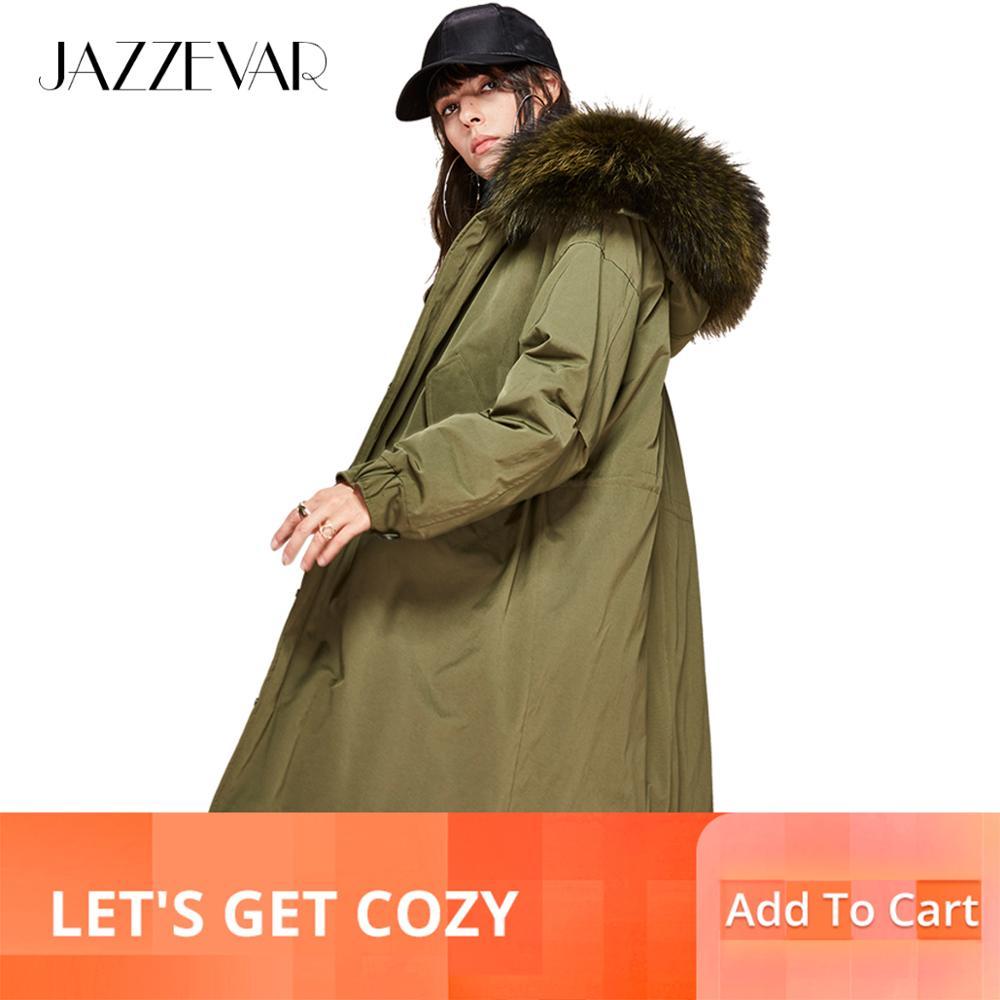 Jazzevar 2019 새 겨울 여성 90% white duck down jacket 오버 사이즈 롱 다운 코트 large real raccoon fur hooded parka-에서다운 코트부터 여성 의류 의  그룹 1