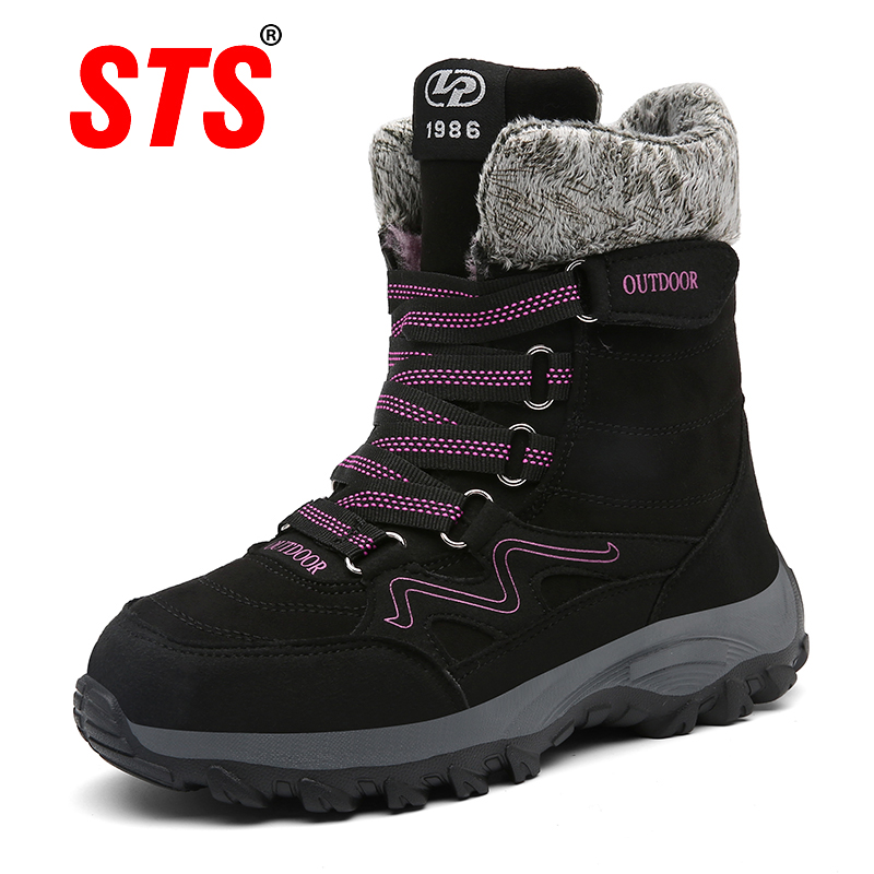 STS nueva llegada botas de nieve de cuero de gamuza de moda de invierno botas de felpa de mujer botas de tobillo impermeables zapatos planos 35 42-in Botas de nieve from zapatos    1