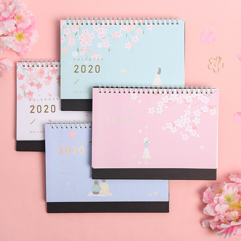 2020 Year Fresh Cherry Blossoms And Cat Calendar DIY Table Calendar Daily Schedule Planner 2019.07~2020.12