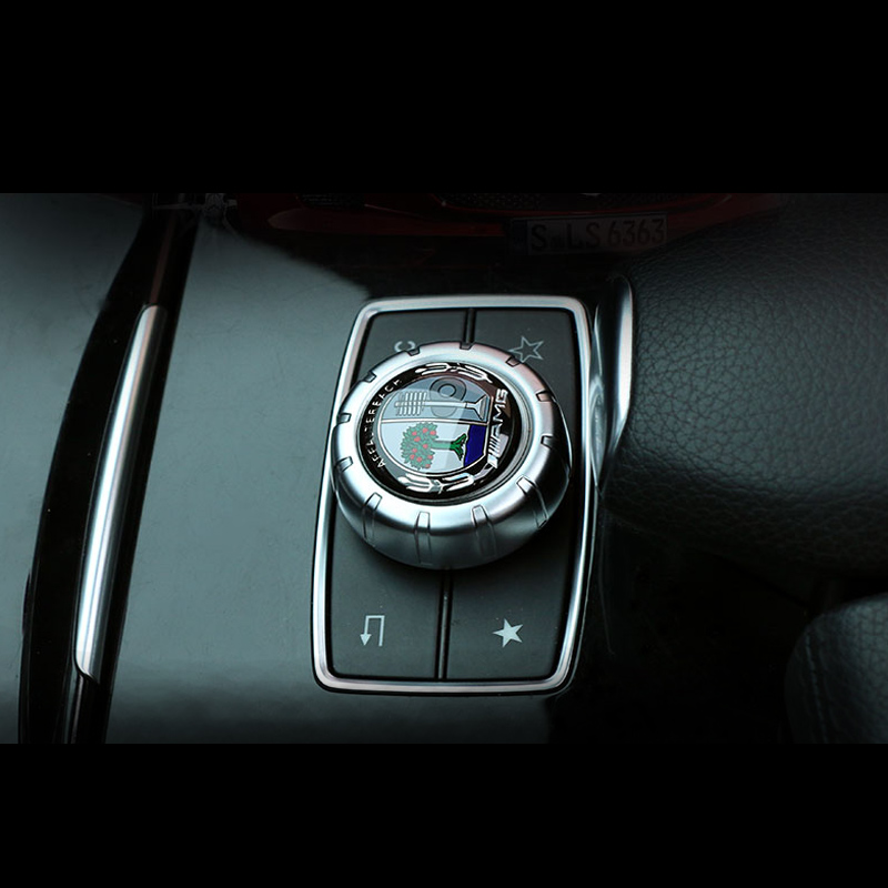 1 PCS Car Central control multimedia knob cover sticker Car <font><b>Accessories</b></font> For <font><b>Mercedes</b></font> <font><b>Benz</b></font> AMG GLC GLE E CLA GLA W205 W211 <font><b>W213</b></font> image