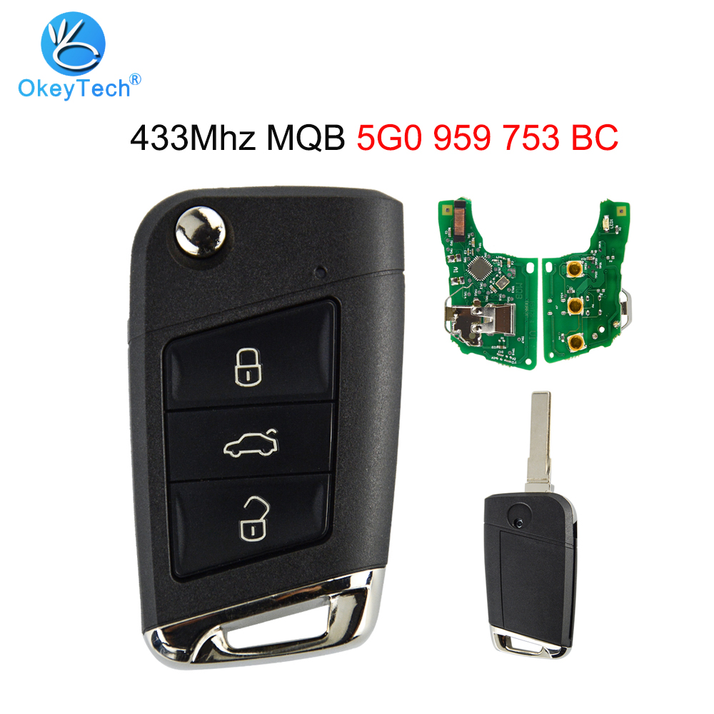 OkeyTech for Volkswagen V W <font><b>Golf</b></font> MK7 Skoda Octavia A7 <font><b>Remote</b></font> Smart Car <font><b>Key</b></font> 5G0 959 753 BC 3 Button 433Mhz MQB Uncut HU66 Blade image