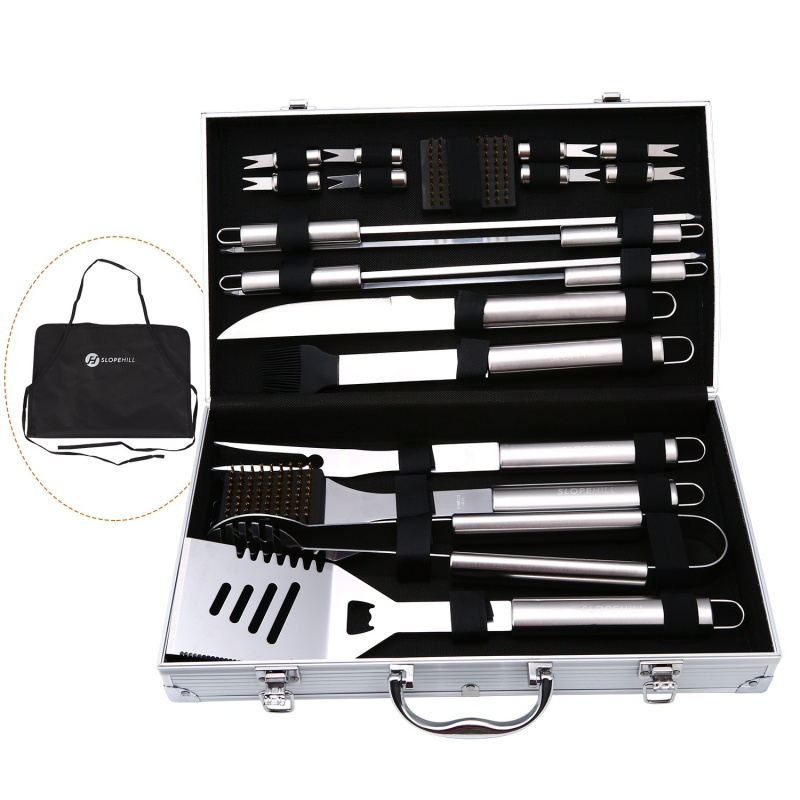 BBQ Tool Set Aluminum Storage Box Stainless Steel Metal Barbecue Grilling Kitchen Dining Bar Supplies
