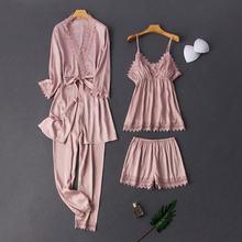 Daeyard женский Шелковый Атласный пижамный комплект из 4 предметов