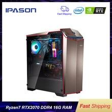 IPASON Gaming PC AMD 8 Çekirdekli R7 2700 RTX2070 8G DDR4 16G RAM 256G SSD su soğutmalı oyun Masaüstü bilgisayarlar montaj Oyun PC