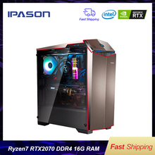 IPASON Gaming PC AMD 8-Core R7 2700 RTX2070 8G DDR4 16G RAM 256G SSD water-cooled game Desktop