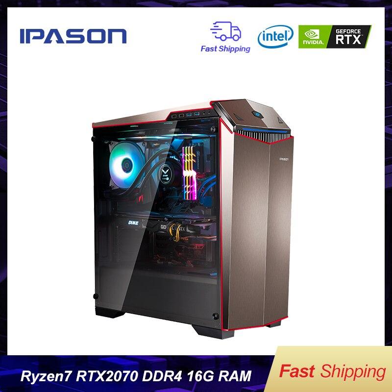 IPASON Gaming PC AMD 8-Core R7 2700 RTX2070 8G DDR4 16G di RAM 256G SSD acqua -raffreddato gioco computer Desktop di montaggio Gaming PC