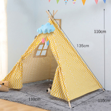 Portable Childrens Tent Cotton Canvas Tipi House Kids Girls Play Wigwam Game India Triangle Room Decor