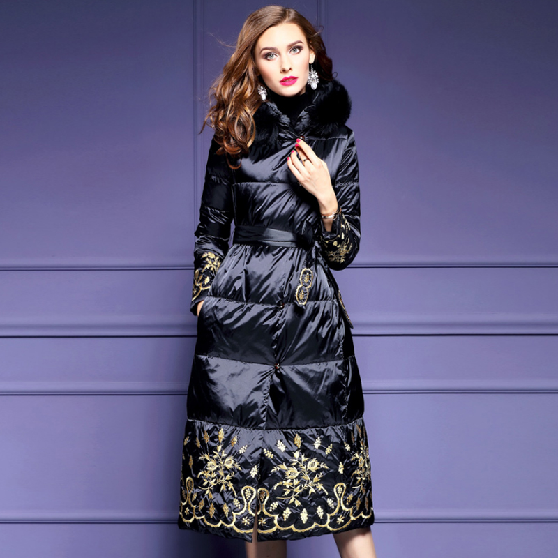 2019 Winter Fall Fashion Womens Cothes Fur Hooded Embroidery Black Long Padded Parka Coat , 3xl Warm Coats And Parkas For Women