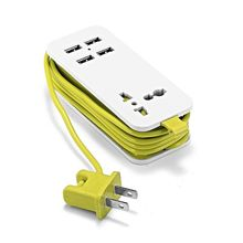 US Plug Power Extension Socket Outlet Portable Travel Adapter Power Strip Smart Phone USB Charger 1.5m 5ft Extend Cord