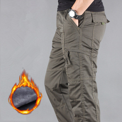Image 4 - Men's Cargo Pants Winter Thicken Fleece Cargo Pants Men Casual Cotton Military Tactical Baggy Pants Warm Trousers Plus size 3XL-in Cargo Pants from Men's Clothing