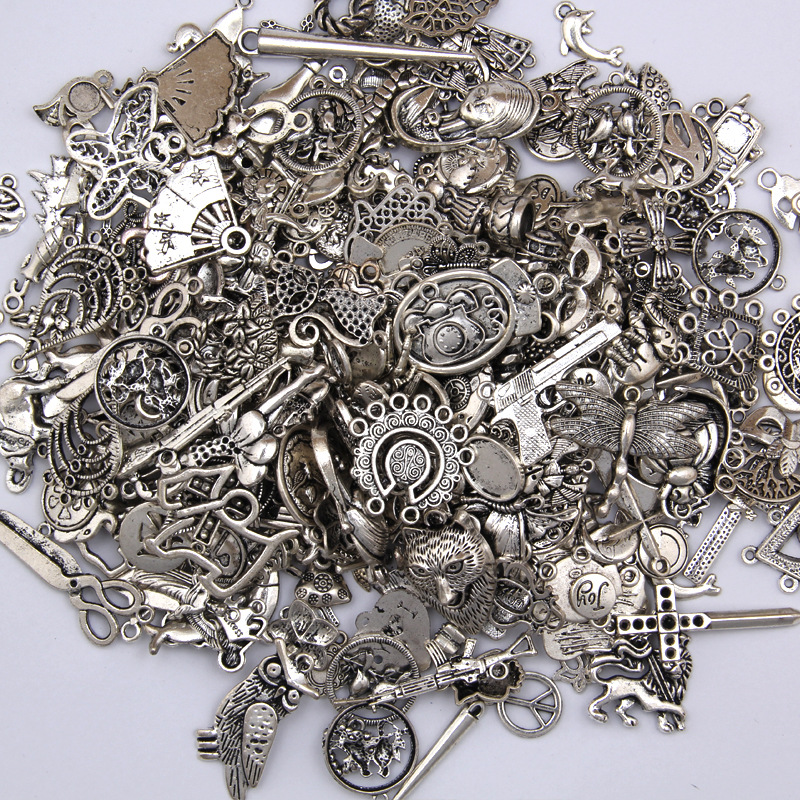50g 100g Mixed Charms Pendants Antique Silver DIY Jewelry Making Vintage Bracelets Craft Metal Zinc Alloy DIY Accessories