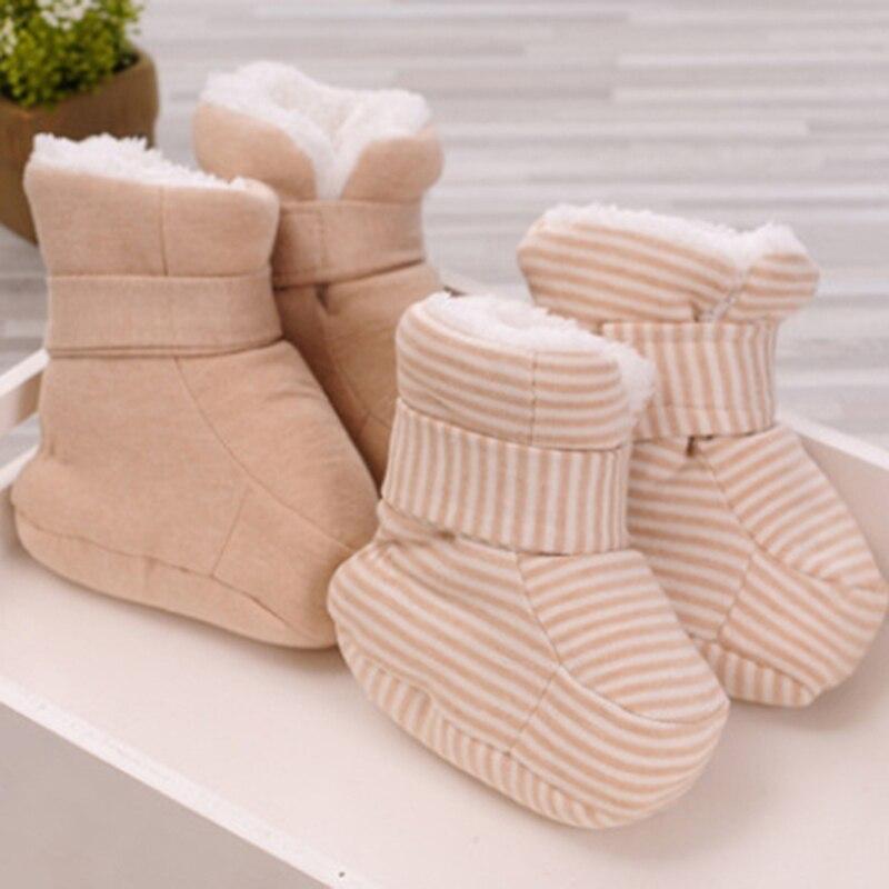 Ботиночки для новорожденных малышей; удобные мягкие Нескользящие ботиночки из хлопка для младенцев; Зимние ботиночки из искусственного