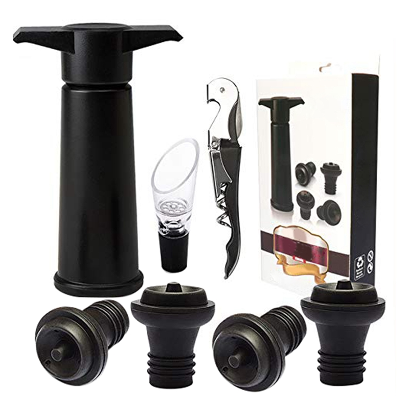 Wine Stoppers Set, Wine Saver Vacuum Pump Preserver - With 4 Bottle Stoppers, 1 Wine Aerator & 1 Bottle Opener фото