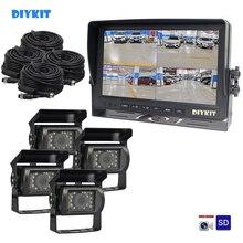 """DIYKIT AHD 9 """"4 פיצול QUAD רכב HD צג 1080P AHD IR ראיית לילה מבט אחורי Led מצלמה עמיד למים עם SD כרטיס וידאו הקלטה"""
