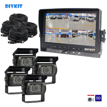 "DIYKIT AHD 9"" 4 Split QUAD Car HD Monitor 1080P AHD IR Night Vision Rear View LED Camera Waterproof with SD Card Video Recording"