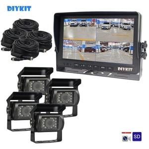 "Image 1 - DIYKIT AHD 9"" 4 Split QUAD Car HD Monitor 1080P AHD IR Night Vision Rear View LED Camera Waterproof with SD Card Video Recording"