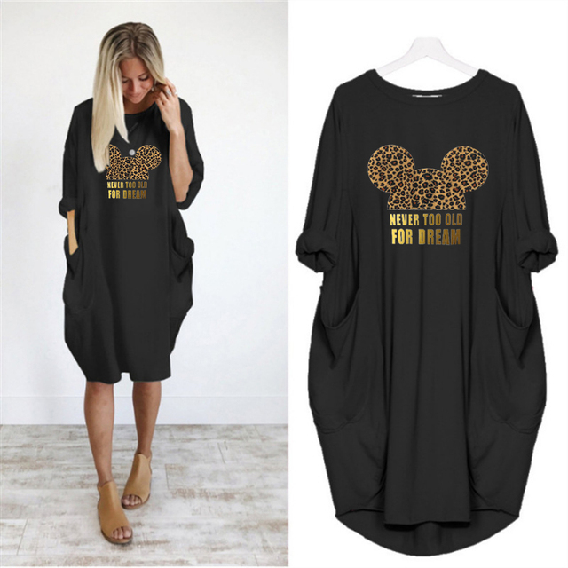 2020 Dress Women Cute Printing Pocket Loose Dresses Vintage Fall Maxi Clothes Party Casual Dresses Woman Plus Size Leopard Dress 2