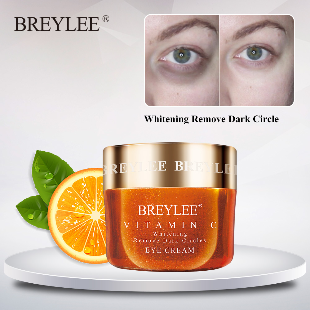 Breylee Vitamin C Eye Cream Whitening Dark Circle Eyebag Removal Brighten Skin Ageless Vc Eyes Serum Anti-Wrinkles Eye Care 20g