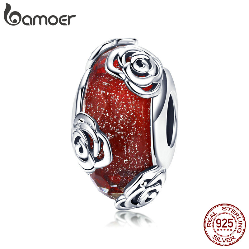 BAMOER Hot Sale Real 925 Sterling Silver Rose Flower European Glass Beads Fit Charm Bracelets DIY Jewelry Accessories SCC1030