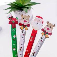 Regla recta de madera con diseño de dibujos animados de Santa, payaso, Cactus, regla recta para medición, regalo de Navidad, papelería, 1 unids/lote