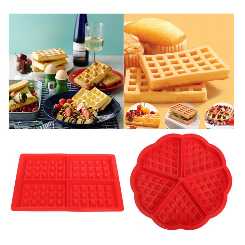Красная силиконовая, для вафель сковорода для выпекания хлебобулочных изделий шоколад запеченные вафельница Плесень лоток Принадлежности для выпечки    АлиЭкспресс - форма для выпечки
