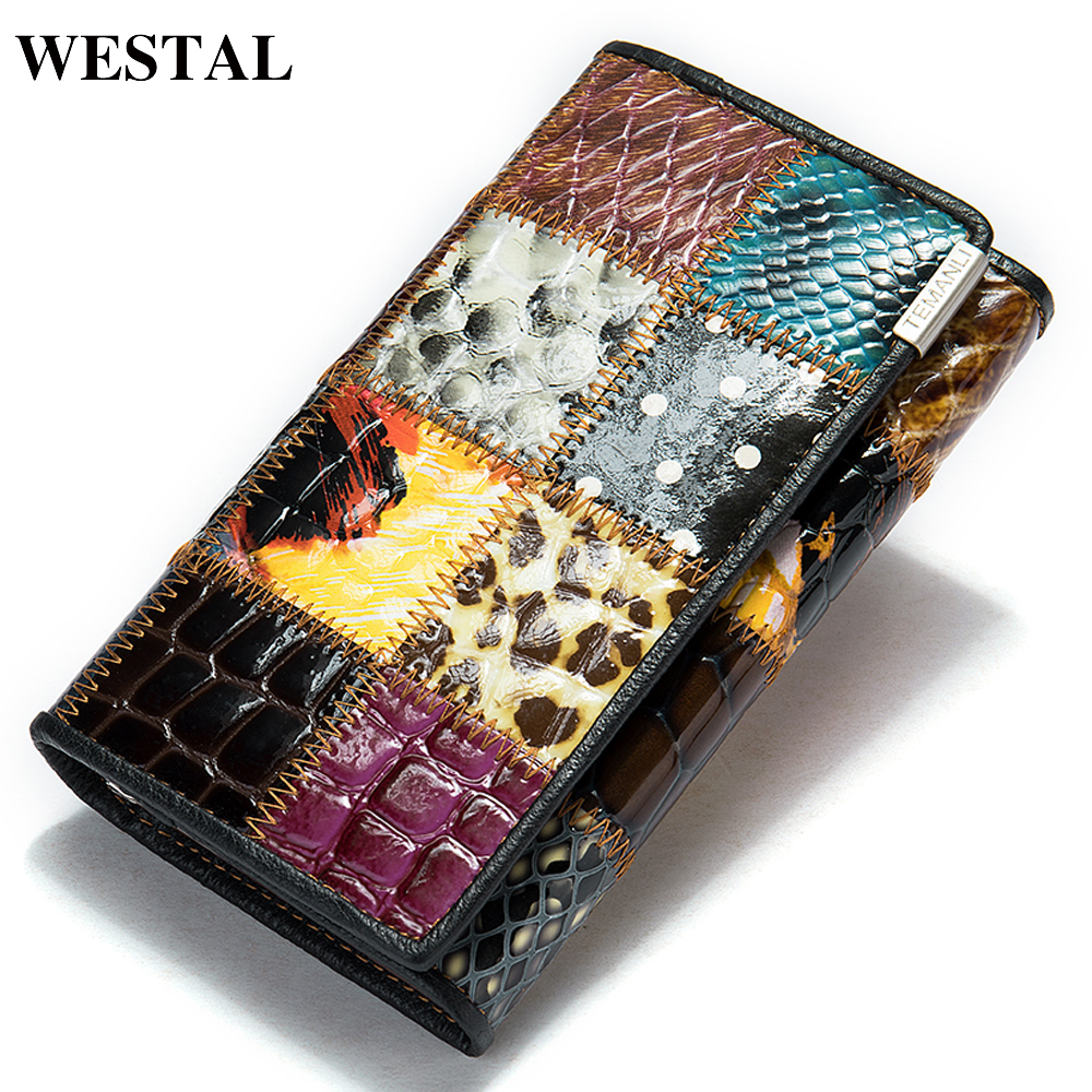 WESTAL Slim Women Wallet Genuine Leather Mid Wallets For Cards Money Bags Purse For Female Ladies Wallets For Women Coin Wallet
