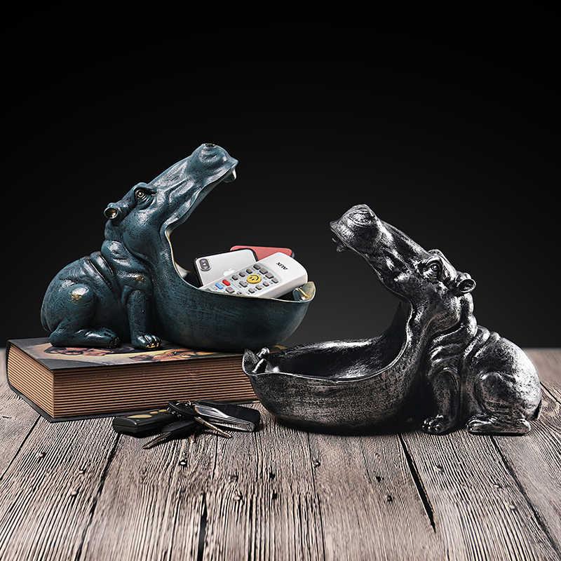 VILEAD 22cm żywica Hippo figurki brelok dekoracja stołu akcesoria domowe ganek pilot przechowywanie zwierzęca dekoracja prezent