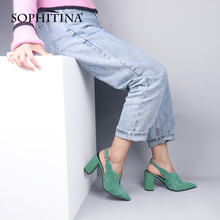SOPHITINA Slingbacks Pumps Women Solid Career Thick Heels Pointed Toe Concise Of