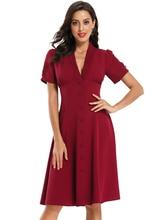 V-образным вырезом кнопки вечернее платье короткий рукав Пром платье-линии красное вино атласная повод платье для женщин длиной до колен Homecoming платье