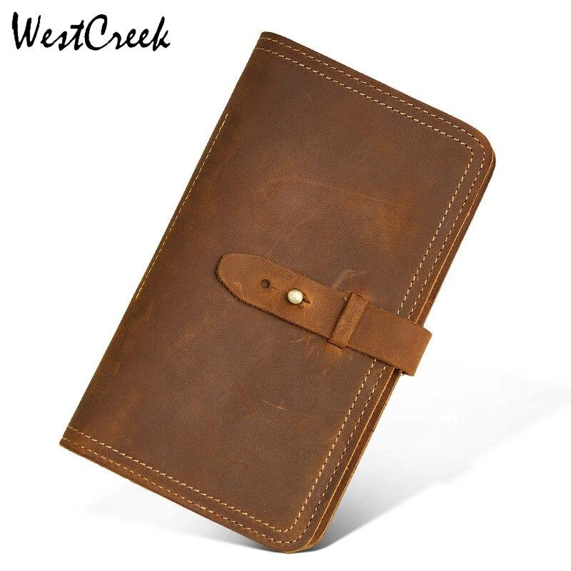 WESTCREEK Brand Crazy Horse Leather Retro Passport Wallet Multi-Functional Ticket Credit Card Holder Purse