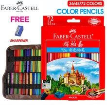 Lápis de pintura colorido, lápis de escritório para escola e escritório faber-castell 36/48/72 cores lápis para desenho