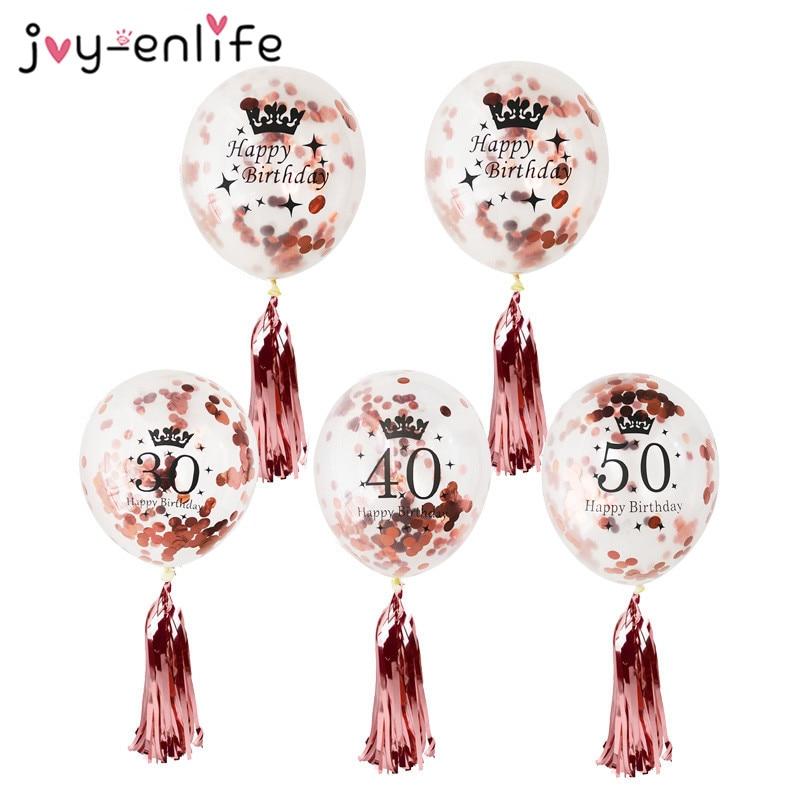 Украшения для дня рождения, для взрослых, 5 шт., 30/40/50 дней рождения, конфетти, воздушные шары, розовое золото, кисточки, искусственные