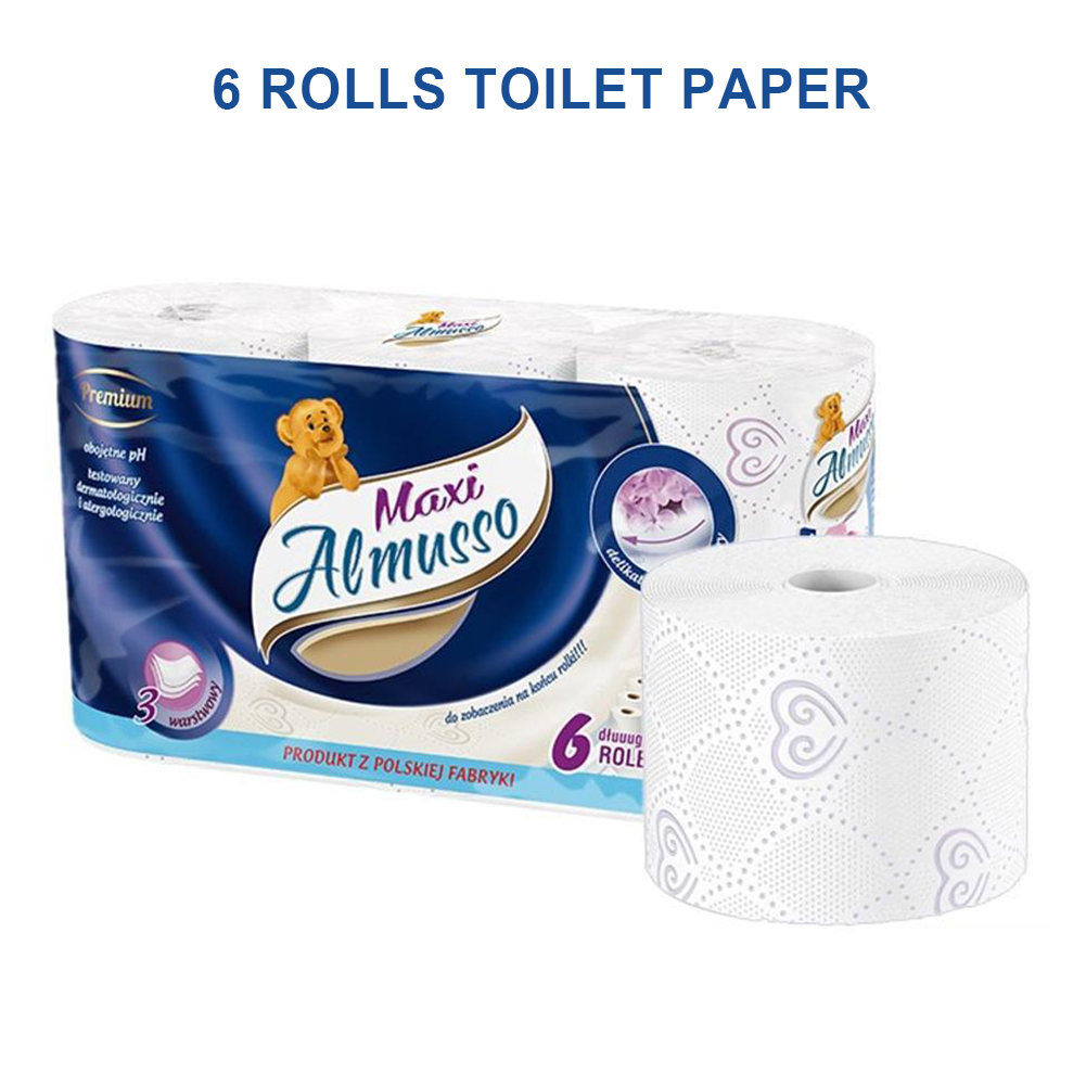 6rolls/pack School Wood Pulp Bathroom 3 Ply Toilet Paper Office Restaurant Cleaning Hotel Soft Kitchen Home Facial Napkin