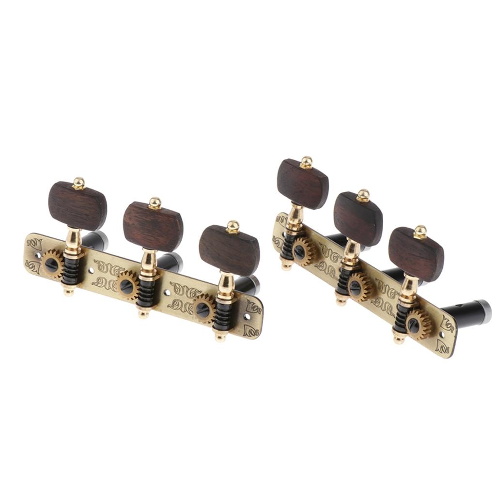 6 pièces connecté rétro bois guitare Tuning chevilles Tuners Machine têtes