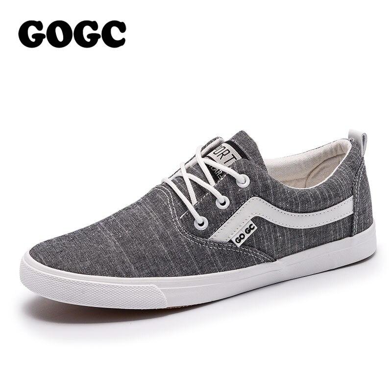 GOGC 2019 New Spring Casual Shoes Men Sneakers Canvas Shoes Men Flat Shoes Lace-Up Vulcanized Shoes Men Loafers Slipony G948