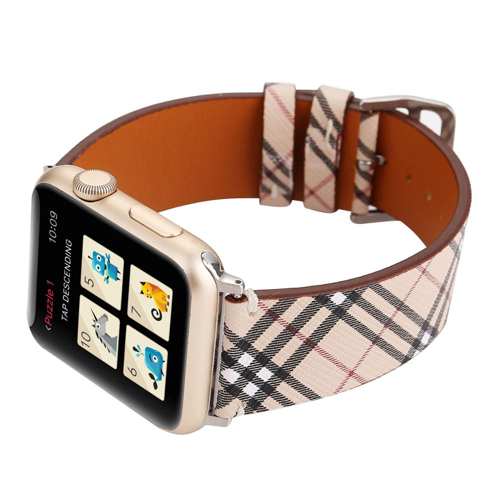 Classic Plaid Pattern Leather Watch Strap  For Apple Watch Band Series 5/4/3/2/1 42/44/38/40mm Replacement Bracelet