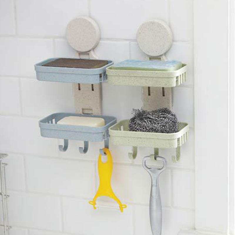 Double Layers Soap Box Kitchen Tools Bathroom Accessories Soap Dish Suction Holder Storage Basket Soap Box Stand