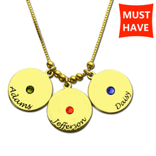 MANBU Hot Sale fashion 925 Sterling Silver  Necklace Customizable with 3 Names Birthstones Square Pendant for gift