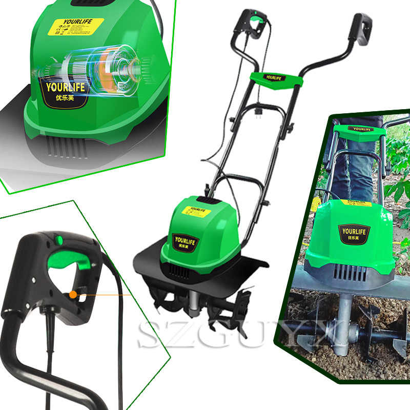220V/1500W Electric Ripper Tiller Small Plow Machine Household Multifunction Mowing Loose Soil Planing Machine