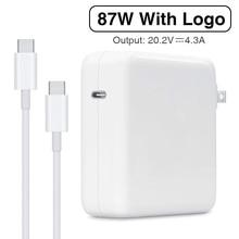 87W USB C adaptateur secteur type c PD chargeur avec 1M USB C câble de charge pour le dernier Macbook pro 15 pouces A1706 A1707 A1708 A1719